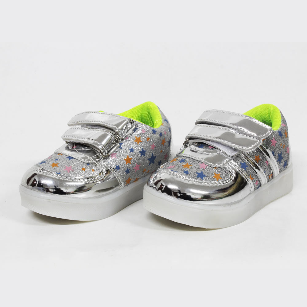 All over Glitter Stars Silver Bottom Lights Unisex Shoes