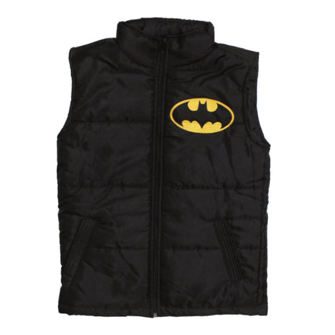 BATMAN Boys Polyester Padded Batman Logo Print Black Jacket