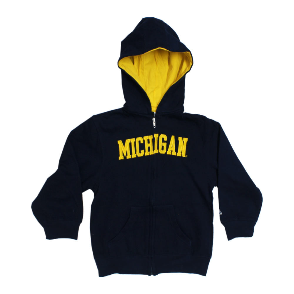 ADIDAS Michigan Embroidery Blue Boys Fleece Cotton Hoodie