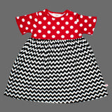 Lolly Wolly Black ZigZag Red Polka Dots Girls Cotton Dress