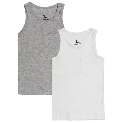 American Hawk Boys Front Pocket 2 Piece Bundle Grey And White Tank Top