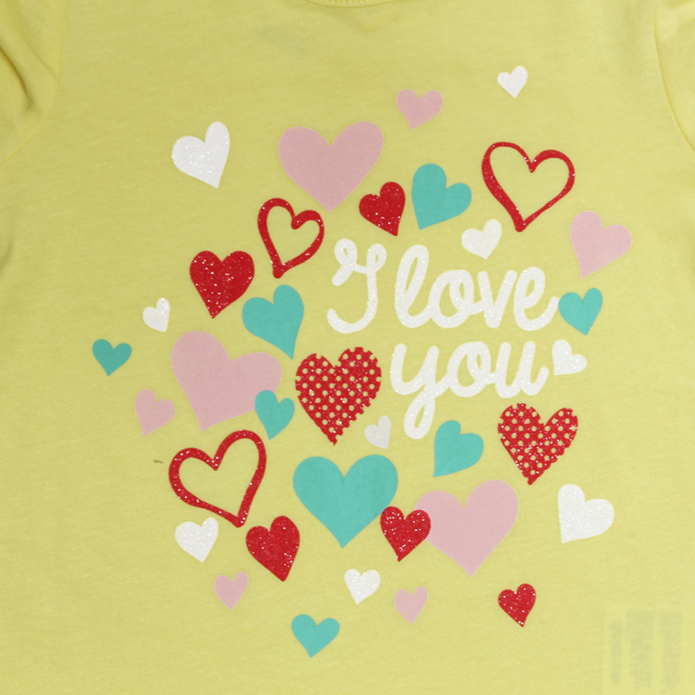 FAGOTTINO All Over Glitter Heart Yellow Girls Premium Cotton Tshirt