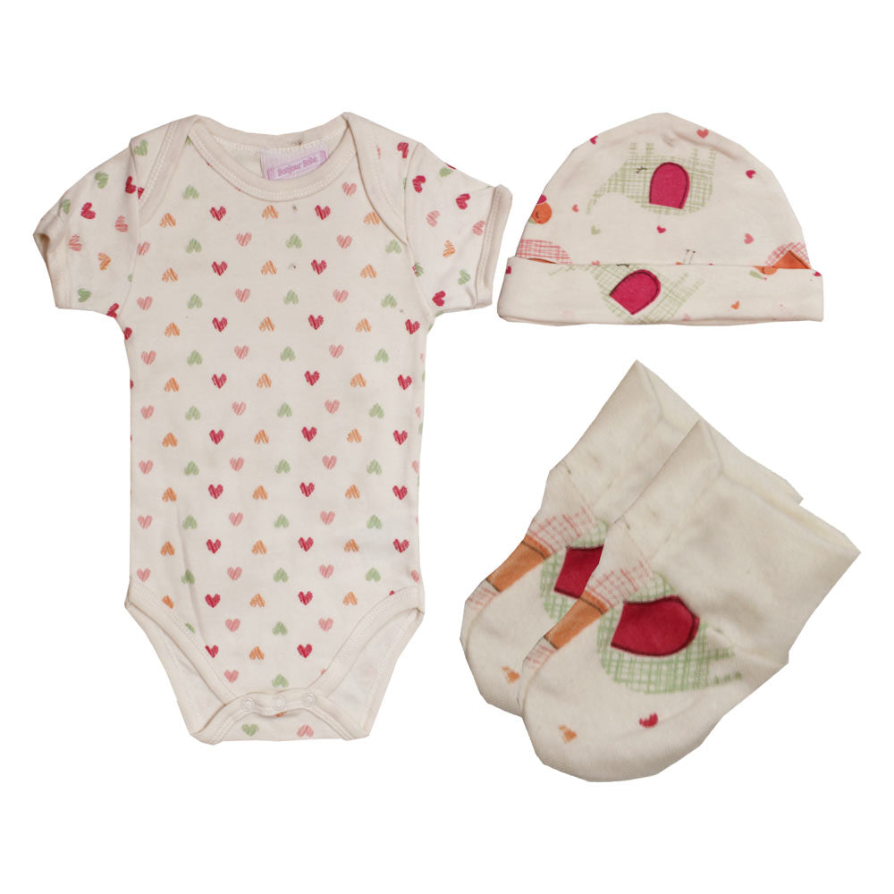 BONJOUR BEBE Heart Print Off White Cotton Romper 3 Piece Set
