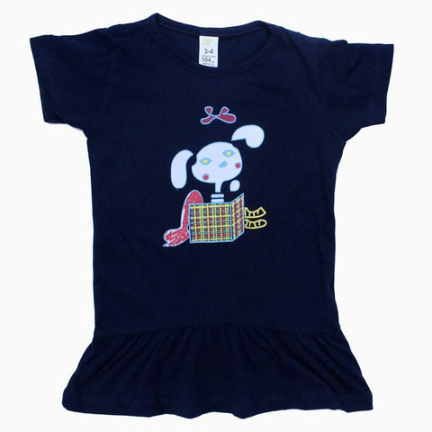 Zara Kids Rabbit Print Navy Blue Girls Dress