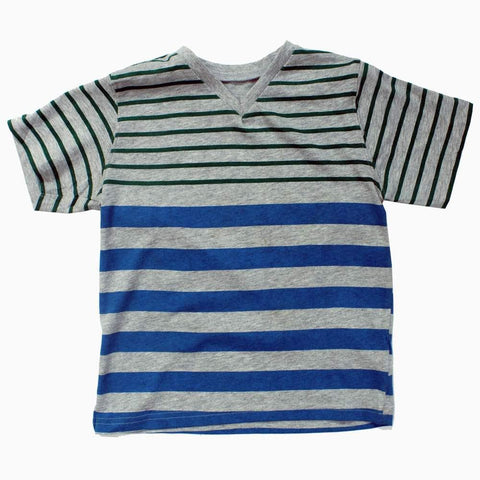 V neck boys grey stripes Tshirt