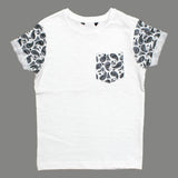 NEXT Cut Label Boys Paisley Printed Sleeves Premium White Cotton Tshirt