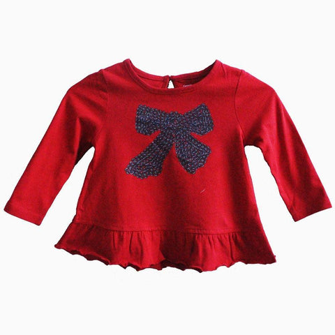 george Red bow full sleeves girls t shirt