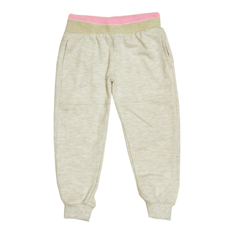PUMA Ash White Pink Waistband Plain Girls Cotton Fleece Trouser