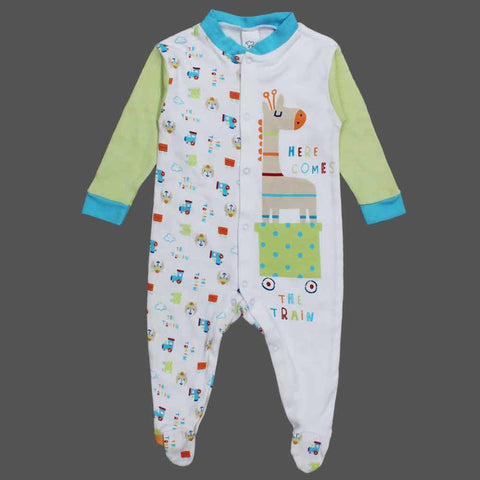 BABY CLUB Here comes Train Boys Cotton Sleep Suit
