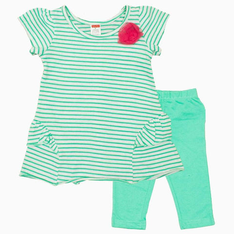 Fisher Price Girls Cotton Green Stripes Flower 2 piece Set