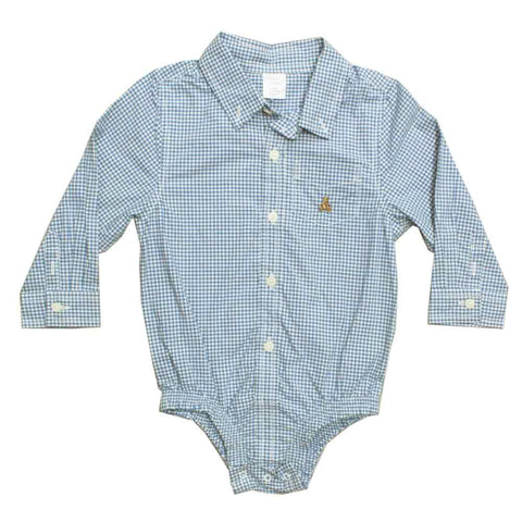 BABY GAP Woven Blue Checks Boys Romper