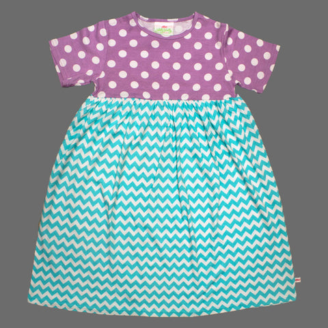 Lolly Wolly Turquoise ZigZag Purple Polka Dots Girls Cotton Dress