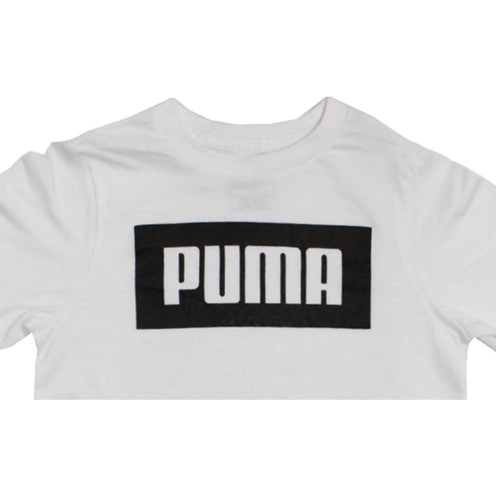 PUMA Black Print White Boys Premium Cotton Tshirt