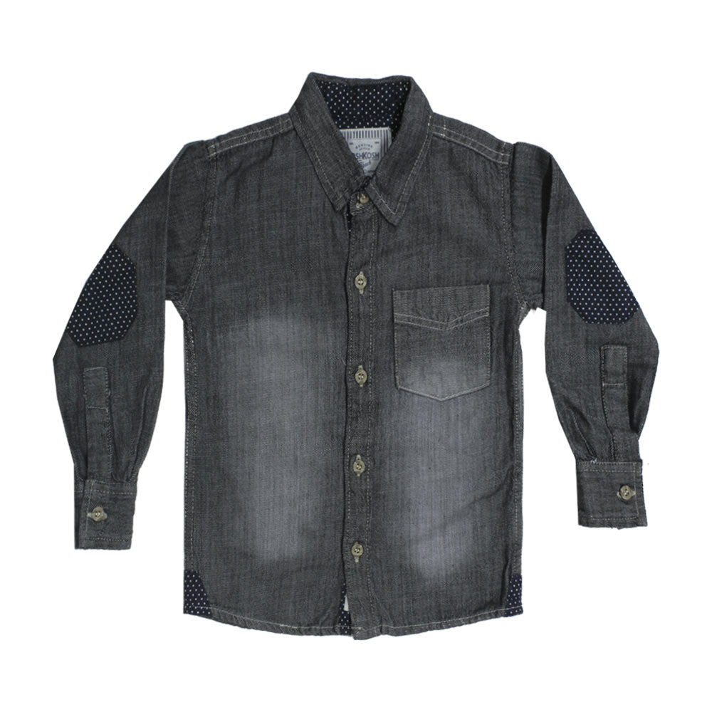 OSHKOSH Grey Front Pocket Check Premium Cotton Casual Winter Shirt