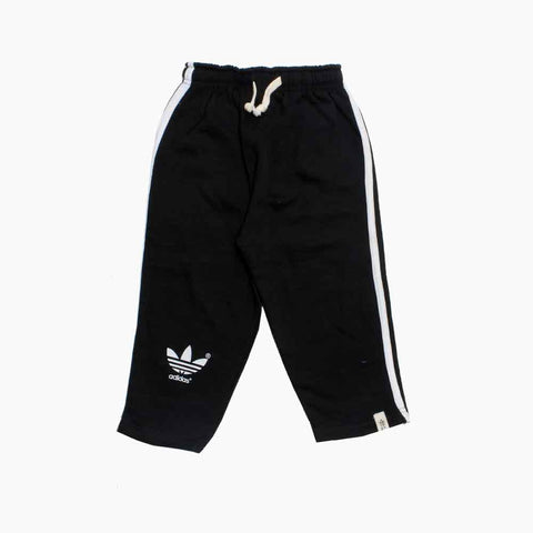 Adidas Boys Fleece Black Trouser with White Piping