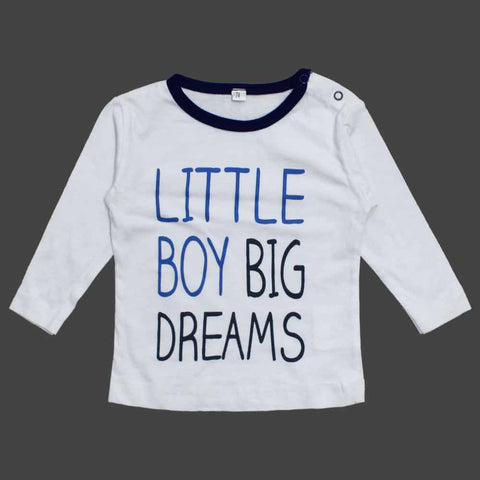 Little Boy Dreams White and Blue Night Tshirt