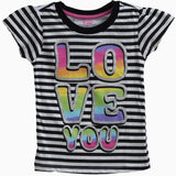 Nannette Stripe love you Print T-shirt
