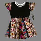 Gee Gee Girls Polyester Black and Multi Colour Print Dress