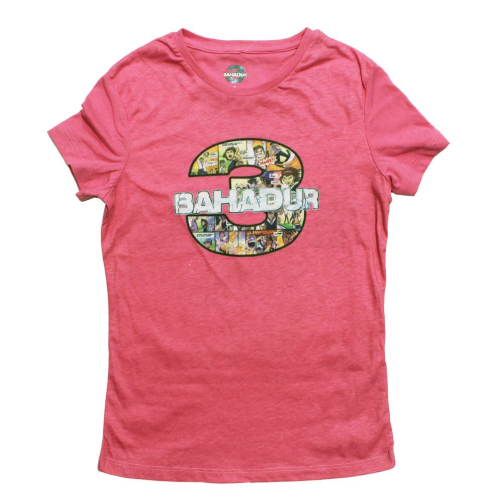 3 Bahadur 3 Bahadur print Light Pink Girls  Cotton Tshirt