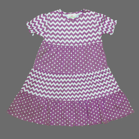 Lolly Wolly Light Purple Multi all over Pattern Girls Cotton Dress