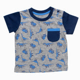 All Over DinoSaur Front Button Boys Premium Cotton Tshirt