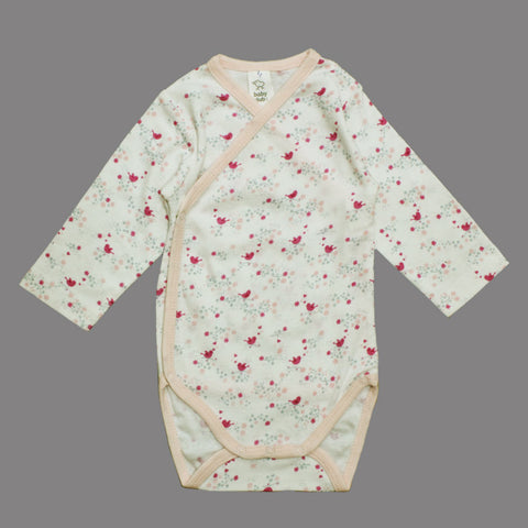 BABY CLUB All Over Pink Bird Wrap Style Cotton Romper