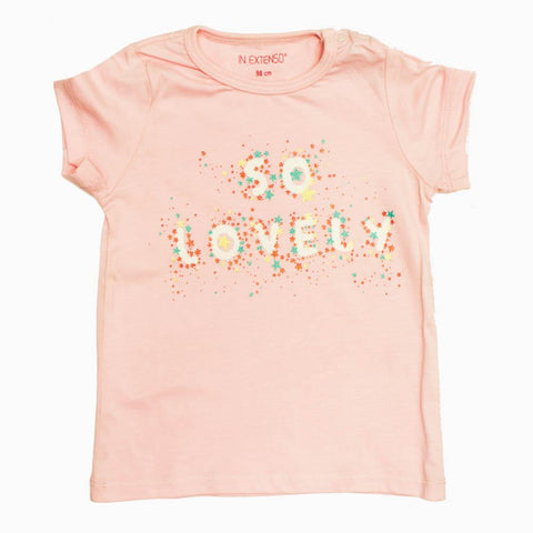 InExtenso Girls baby Pink Lovely Glitter Print Cotton Tshirt
