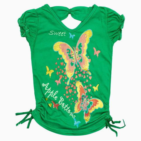 Apple Bottom Green Girls Blue Butterfly Fancy Tshirt