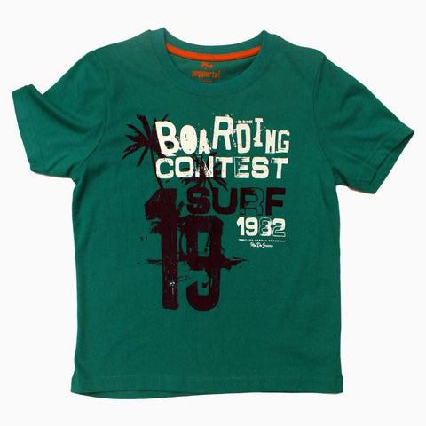 Pepperts Boarding Contest Boys Green Tshirt