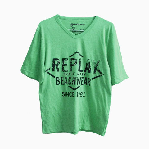 Complices Navy Replay Screen Printed Green Tshirt