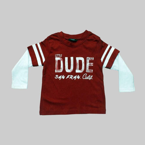 George Little Dude Raglan Sleeves Boys Red Full Sleeves Tshirt