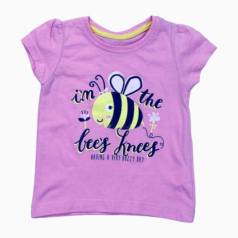 Bee Buzzy day Gils Baby Pink Cotton Tshirt