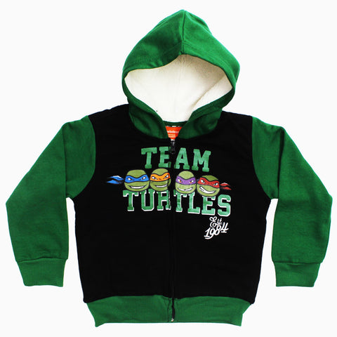 TMNT Team Turtles Boys SHERPA Fleece Zipper Hoodie