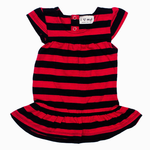 NEXT Girls Premium Yarn Dyed Cotton Red and Black Stripes Dress