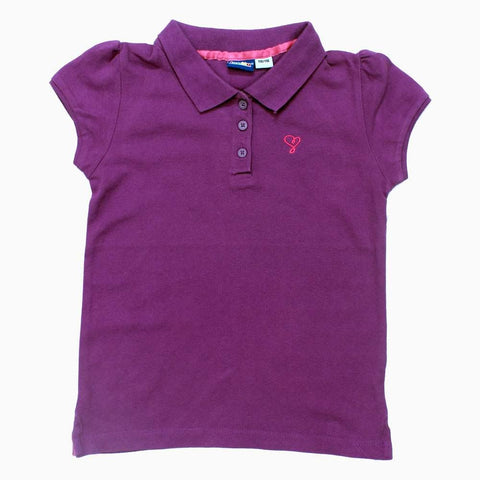 Lipilu Purple Girls Embroidered Chest Cotton Polo