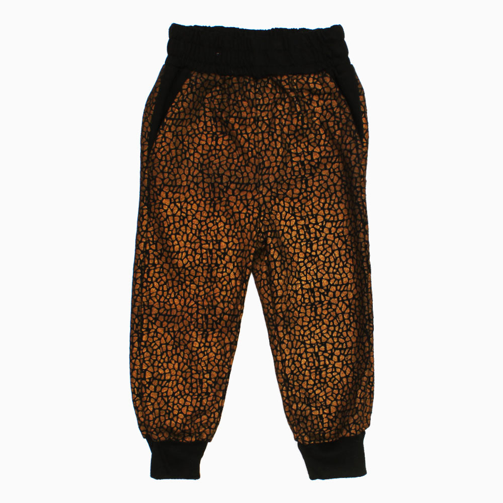 BLACK LACQUER Dull Gold Abstract Print Boys Cotton Fleece Trouser