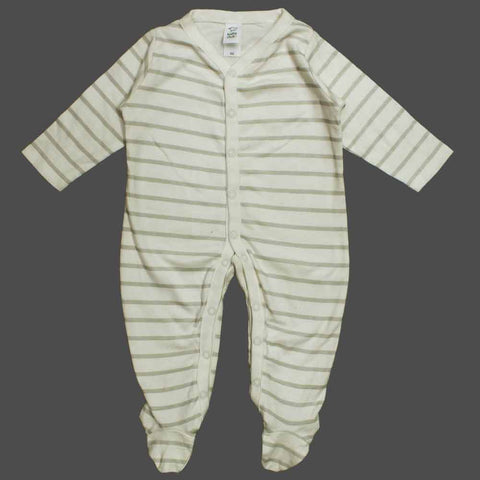 BABY CLUB Grey and Off White Stripes Boys Cotton Sleep Suit