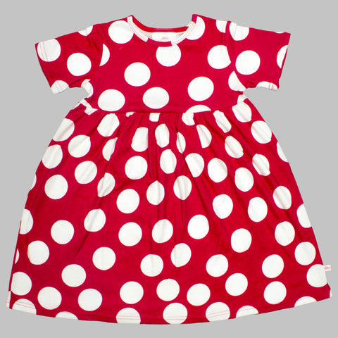 Lolly Wolly Big Polka Dots Red Girls Cotton Dress