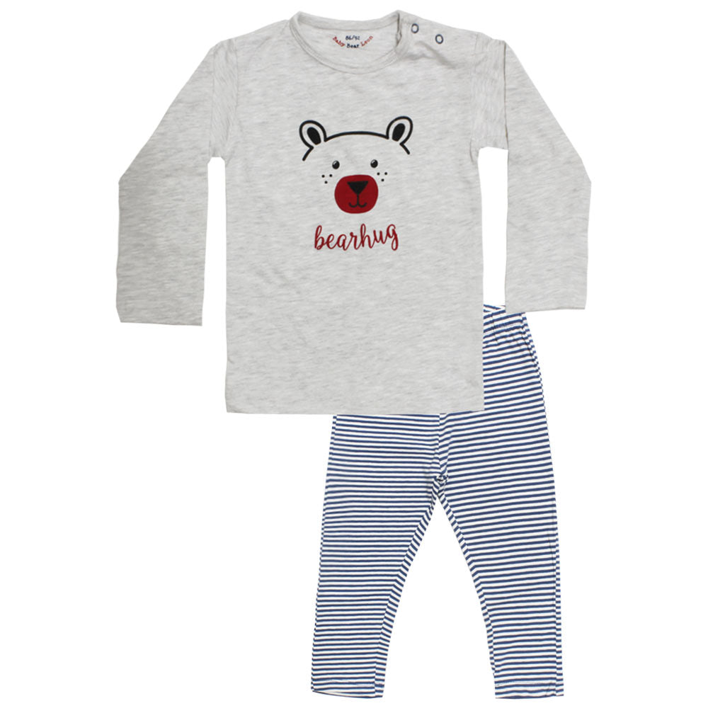 BABY BEAR Face Grey Boys 2 Piece Night Suit