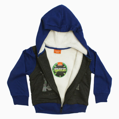 TMNT LETS MOVE Boys Cotton SHERPA Fleece Zipper Hoodie