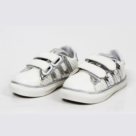 SPORTS Silver Straps White Unisex Shoes