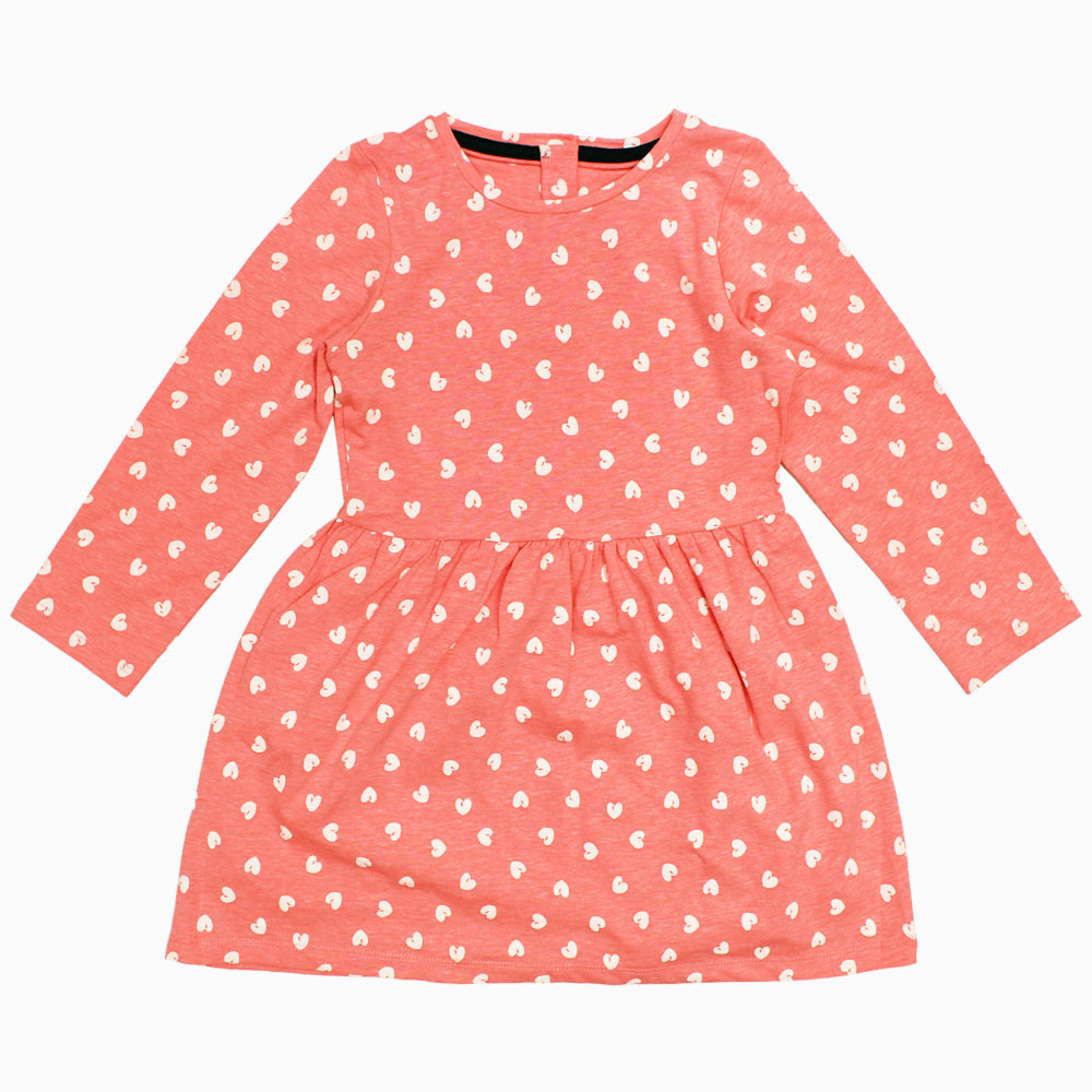 All over Hearts Premium Cotton Girls Pink Dress