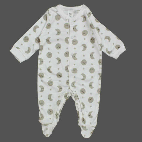 BABY CLUB All over Moon Unisex Off White Cotton Sleep Suit
