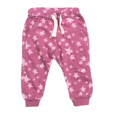 LEFTIES Star Print Pink Cotton Terry Trouser