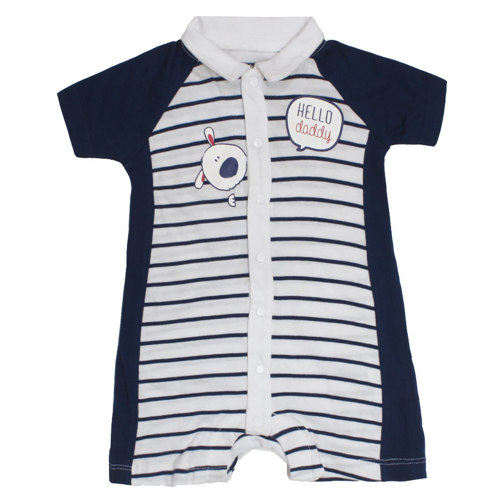 PRENATAL Dog Print White And Blue Stripes Boys Cotton Romper