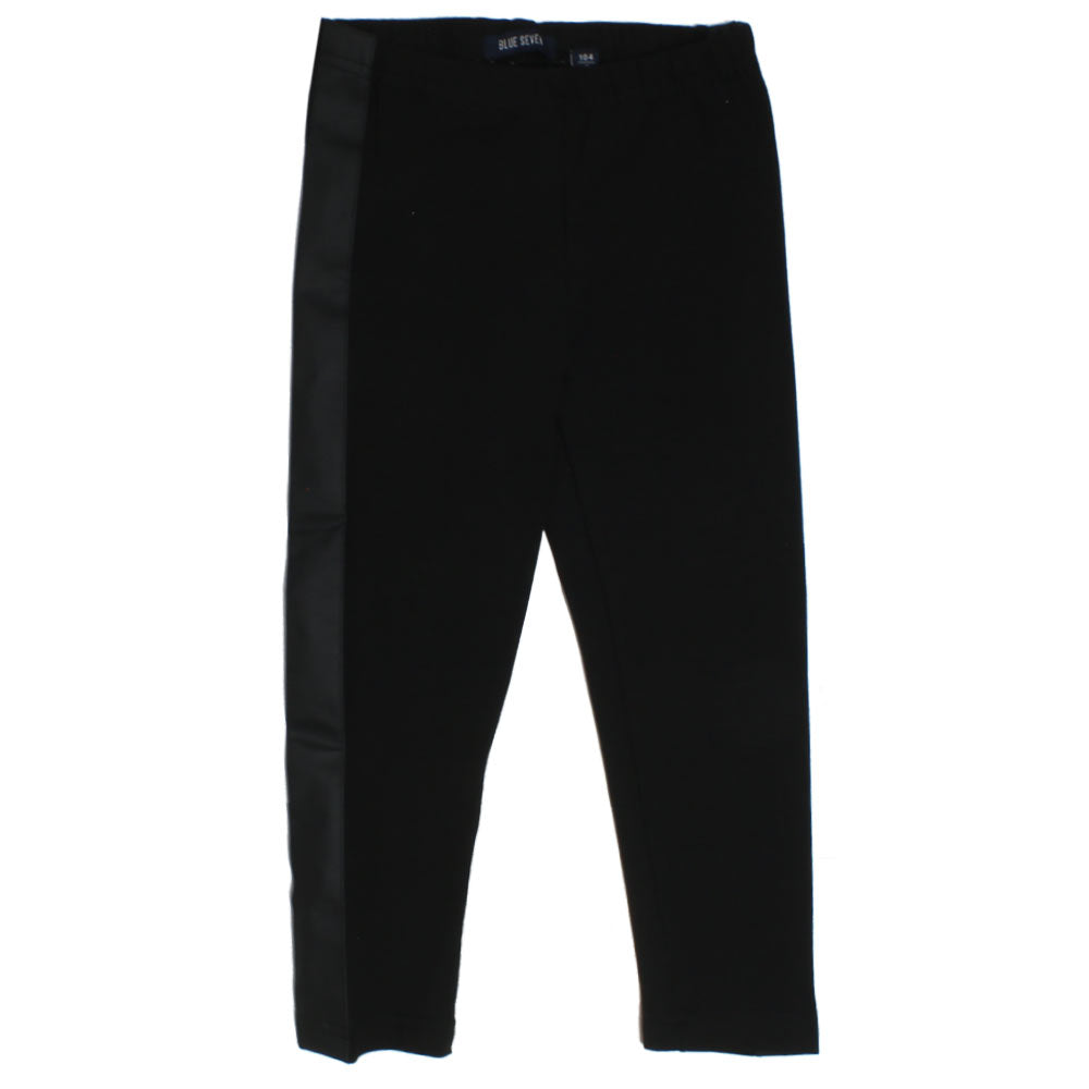 BLUE SEVEN Side Lather Black Girls Cotton Legging