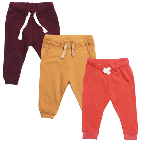 LEFTIES Yellow And Orange Cotton Fleece Trouser 3 Piece Bundle