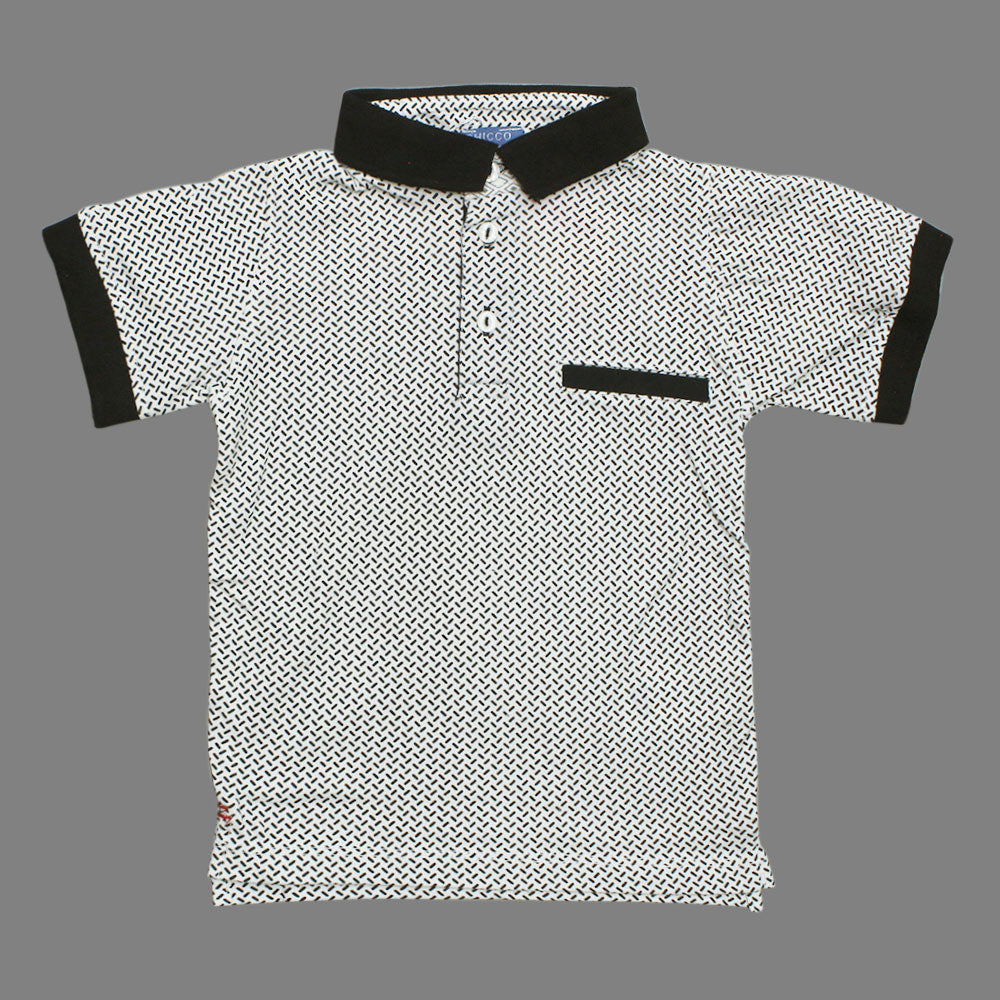 CHICOO All over lines  Bone Pocket Premium Cotton Polo