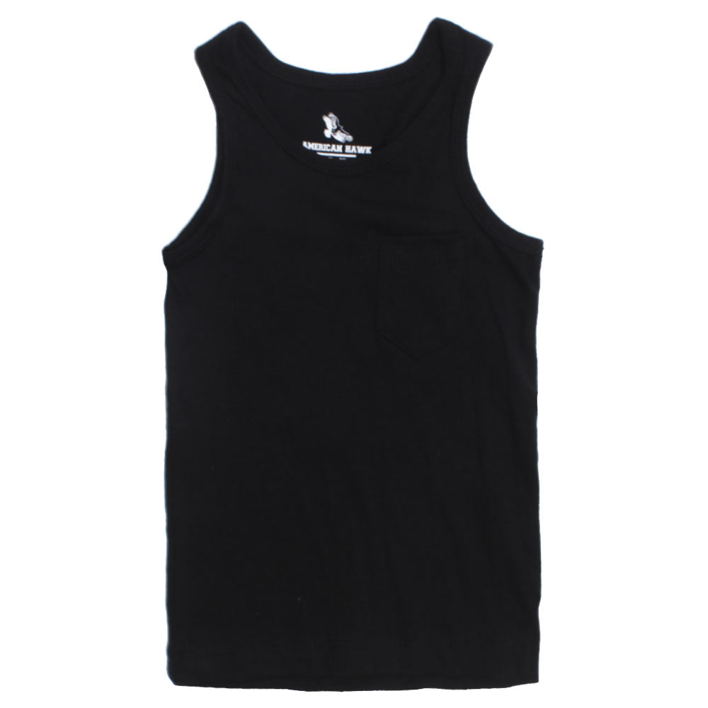 American Hawk Boys Front Pocket Black Tank Top
