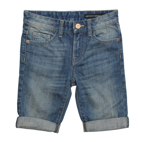 ARTISTIC Heavy Sand washed Bottom Folded Denim Shorts